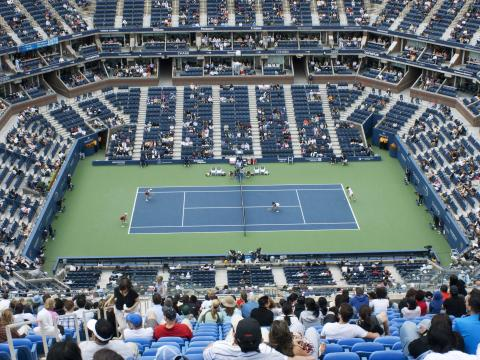 Vue sur le court de l'US Open de tennis