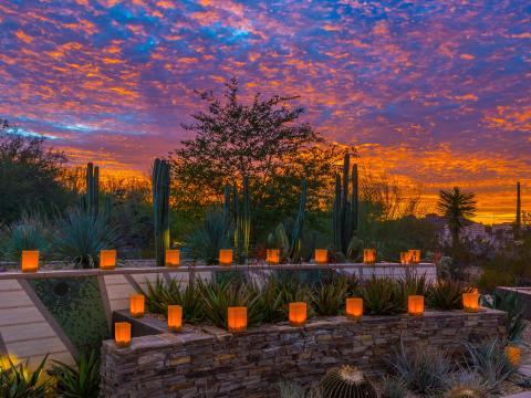 Lampions allumés au coucher du soleil pour Las Noches de las Luminarias à Scottsdale, Arizona